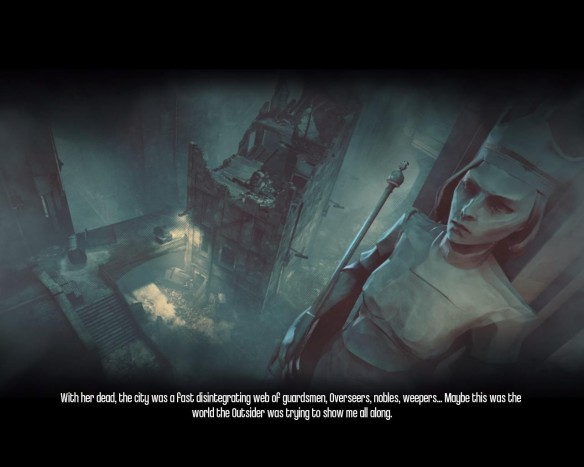 Instead of a little hub map with people to talk to, Daud narrates over cinematic collages between missions.