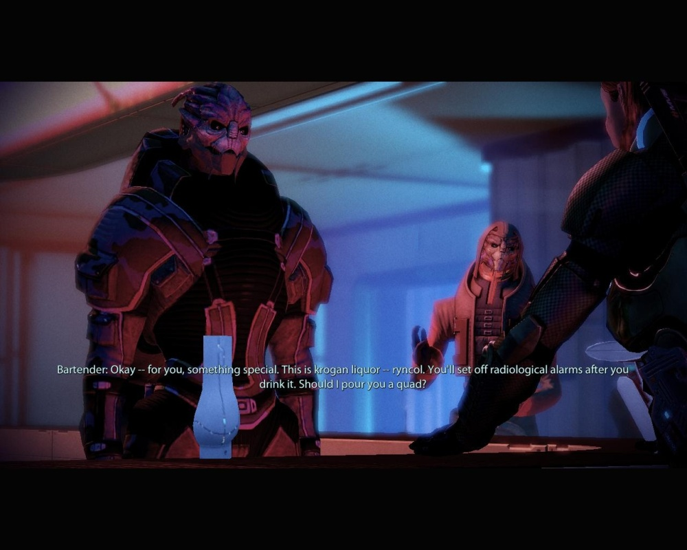 I always play Shepard as a massive alcoholic. It's not wish fulfilment, it's just normal.
