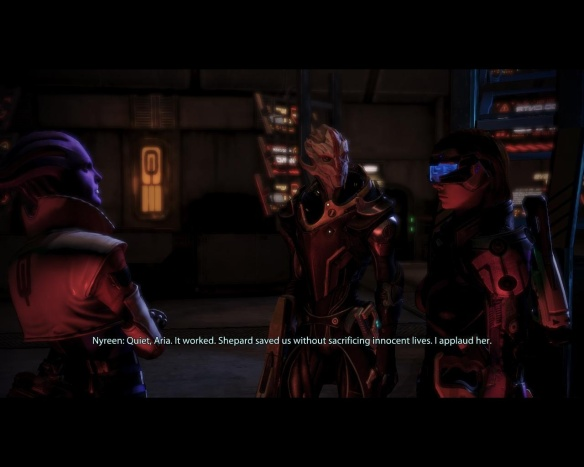 And I applaud you, only female Turian in the entire galaxy. (Garrus' sparring partner was clearly a figment of his imagination.)