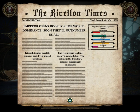 At the end of each turn, a newspaper provides amusing headlines, some random and some based on things you have just done.