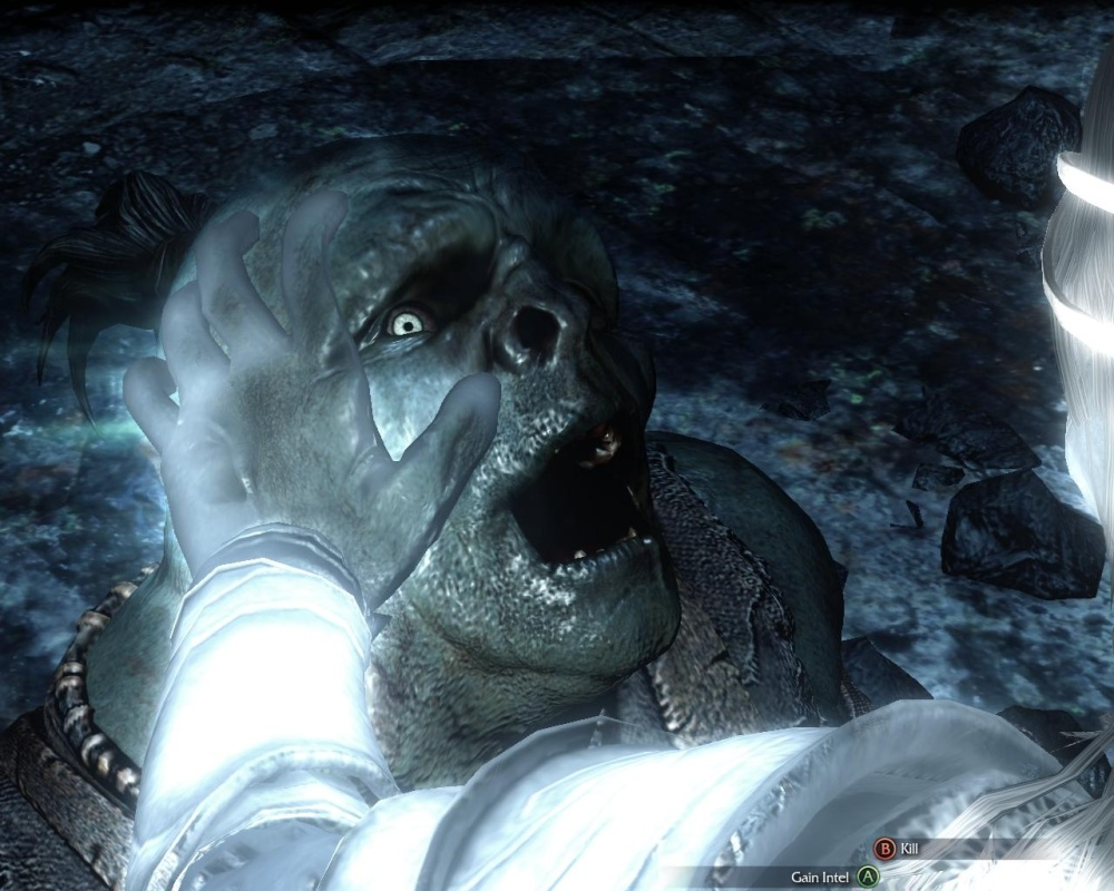 The look of abject terror on an uruk's face when you prepare to gain intel by forcibly ripping the thoughts from its head is a little bit disturbing.
