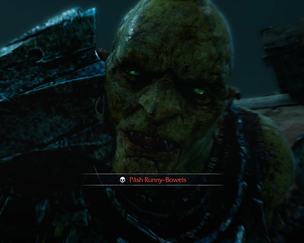 """Dying is worse when it's dying -- repeatedly -- to an uruk called """"Runny-Bowels"""". It couldn't be """"Hell-Hawk"""" or """"the Literate One"""", noooo, it HAD to be """"Runny-Bowels""""."""