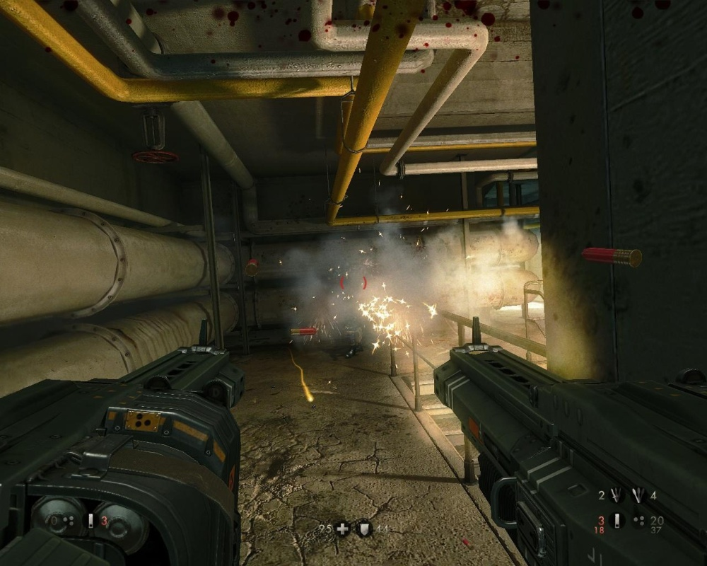 The shotguns are fully automatic, which is a bit of a twist... I guess. They can also be turned into terrible flak cannons later on.