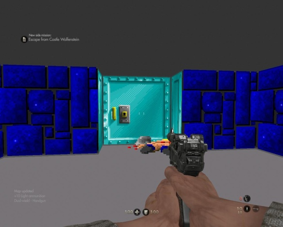 On the plus side, you get to play a level of the original Wolfenstein game.