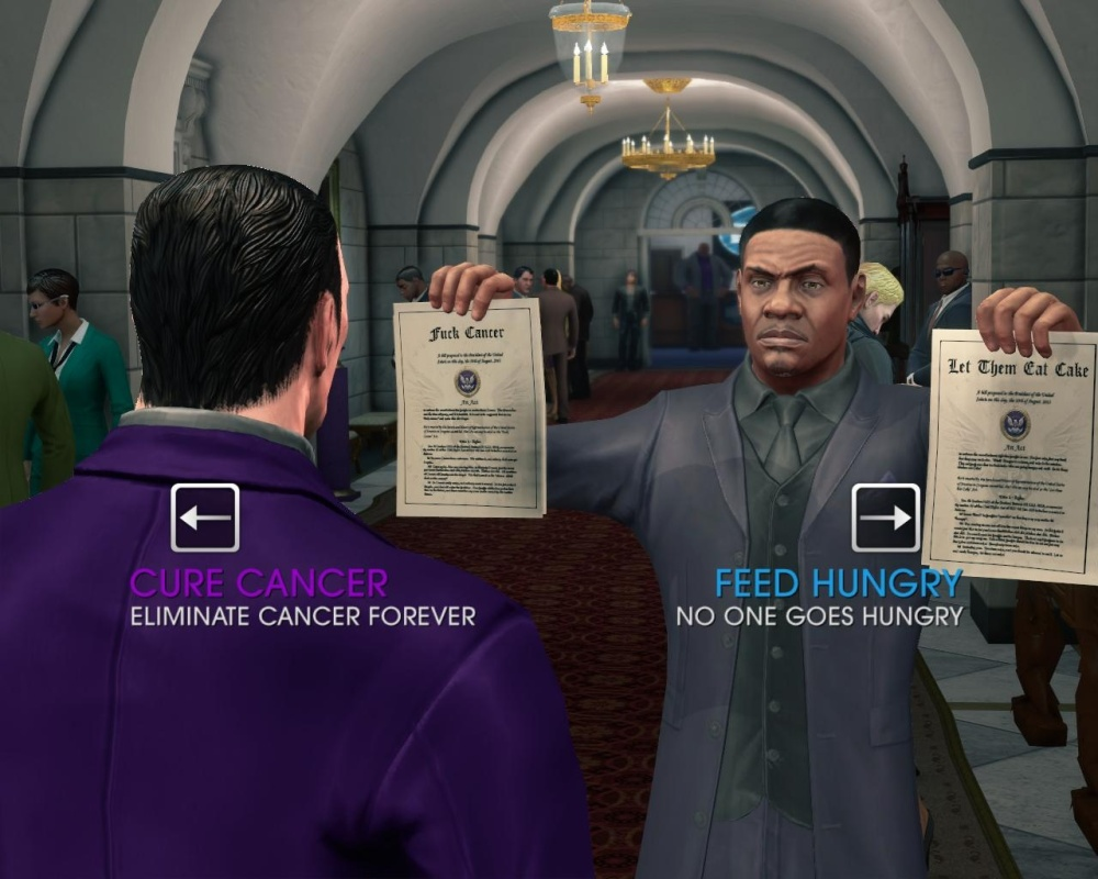 Keith David plays himself, as your Vice President. The game pretty much starts at maximum ridiculous.