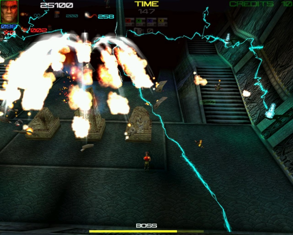 Explosions and lasers AND lightning. Boss fights are delighfully varied.