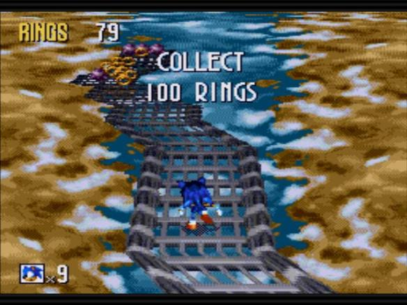 Conversely, the bonus stage is one of the easiest ever to grace a Sonic game. However, you have to give Tails or Knuckles 50 rings to get into it -- hanging onto 50 rings in the normal levels being a much tougher objective.