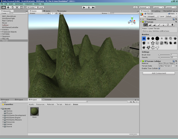 Luckily, the terrain object's lowest possible resolution is about the right size for me. Shame it's still a heightmap.