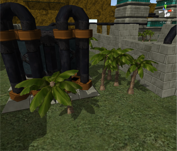 The palm trees are based on the Lego models: independent segments stacked together and rotated randomly within a limit.