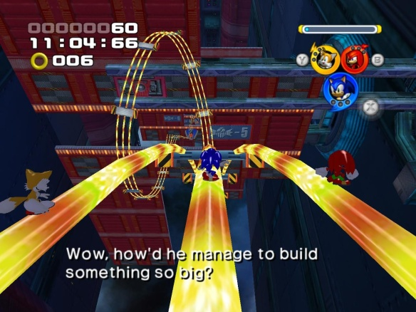 Knuckles then wonders how this airship floats, Knuckles being the one who lives on a magical flying island.