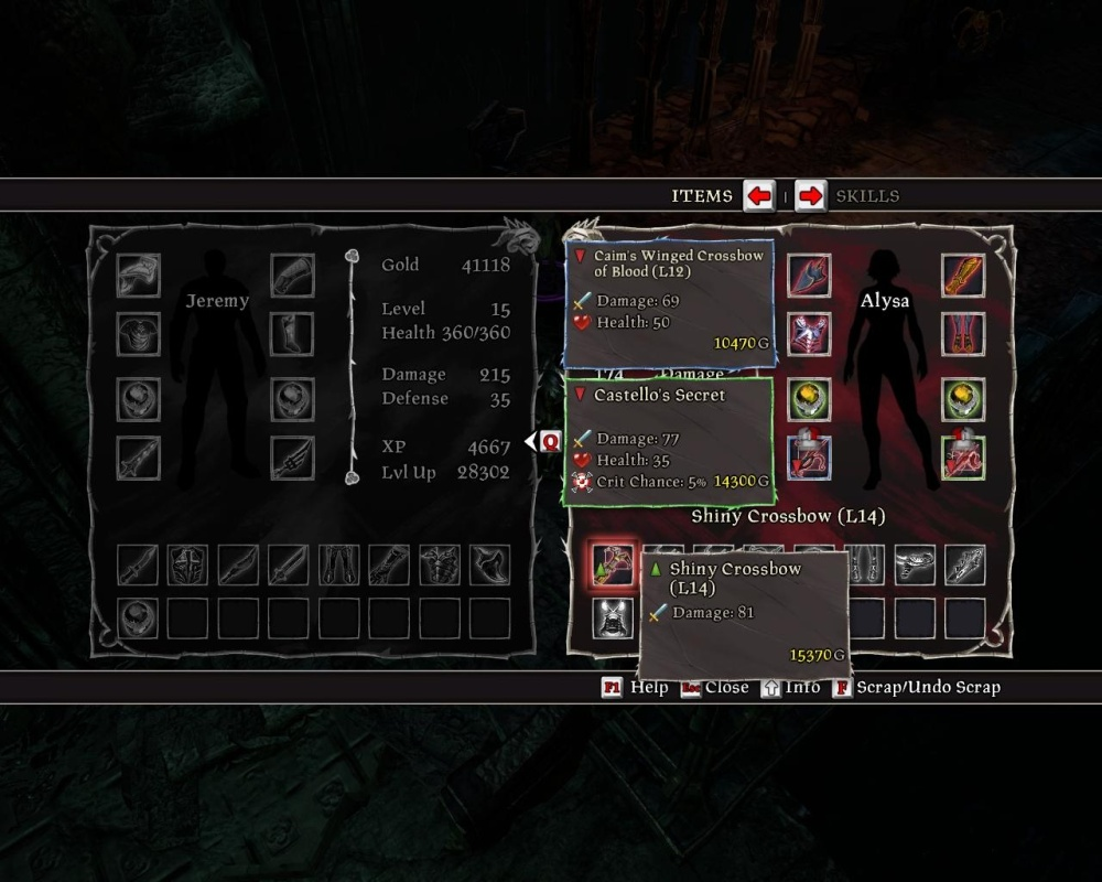 The inventory is actually quite good, controls aside; 'scrapped' items are greyed out and immediately sold on talking to a shop, no fuss. On the other hand, it only takes damage into account for comparisons -- I'd rather have those enchantments than do a tiny bit more damage, thanks.