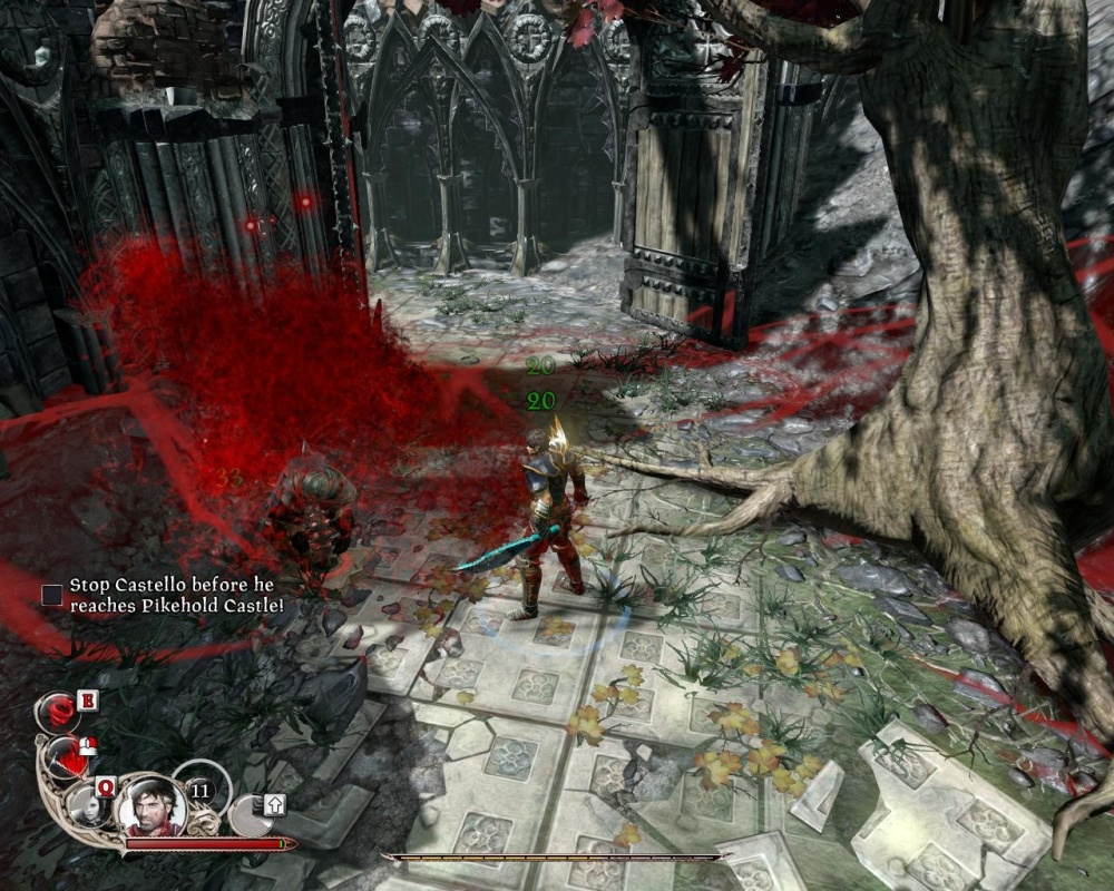 There are no health packs between battles, there are impaled people whose blood you have to suck. How gritty!