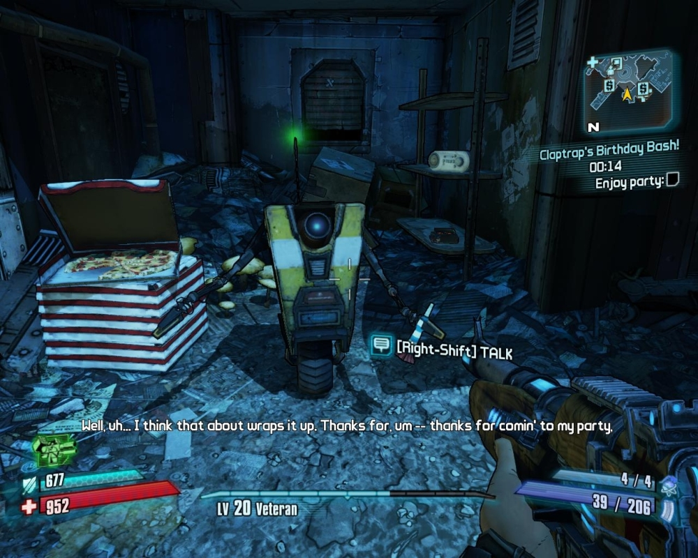 Aww Claptrap, I'd have gone to your party even if it wasn't a side quest that I compulsively had to clear.