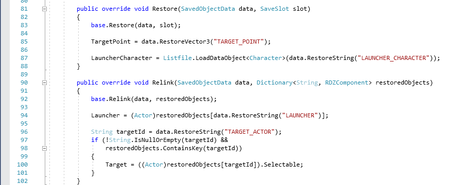 Example of restore and relink methods