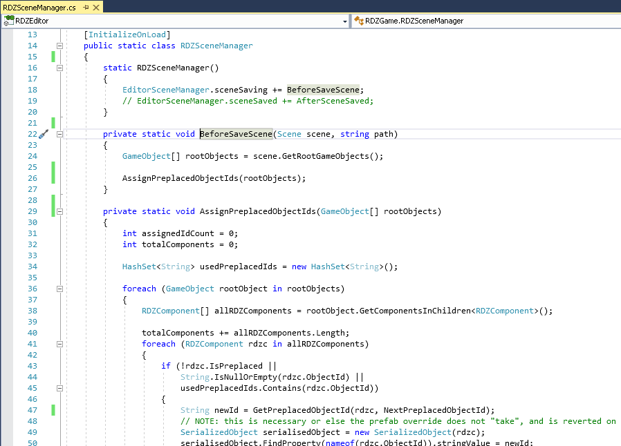 Scene pre-saving code example